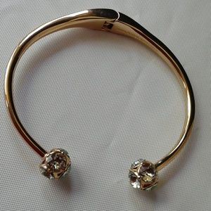 Kate Spade NY Gold Hinged Cuff Bracelet Teal Gems
